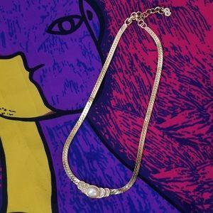 Vintage Christian Dior Herringbone gold necklace
